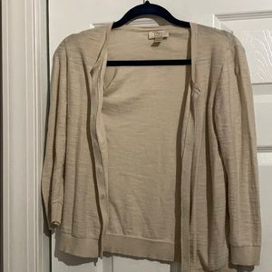 Loft Outlet Cardigan Tan 3/4 length sleeve